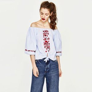 Zara Trafaluc Light Denim Floral Embroidered Top